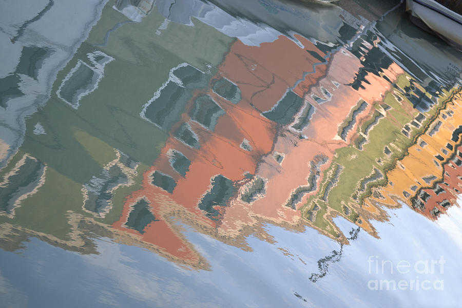 Water Photograph - Burano House Reflections by Rebecca Margraf