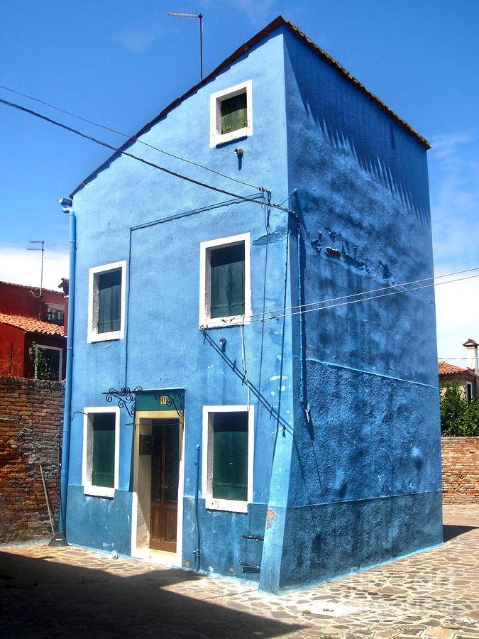 Burano Photograph - Burano Island - Strange Blue House by Gregory Dyer