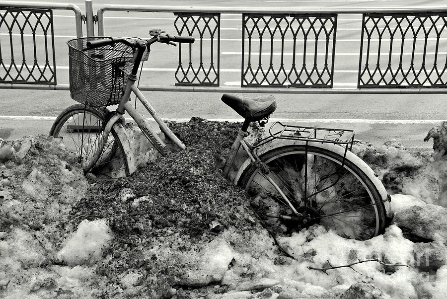 Bicycle Photograph - Buried In The Snow by Dean Harte