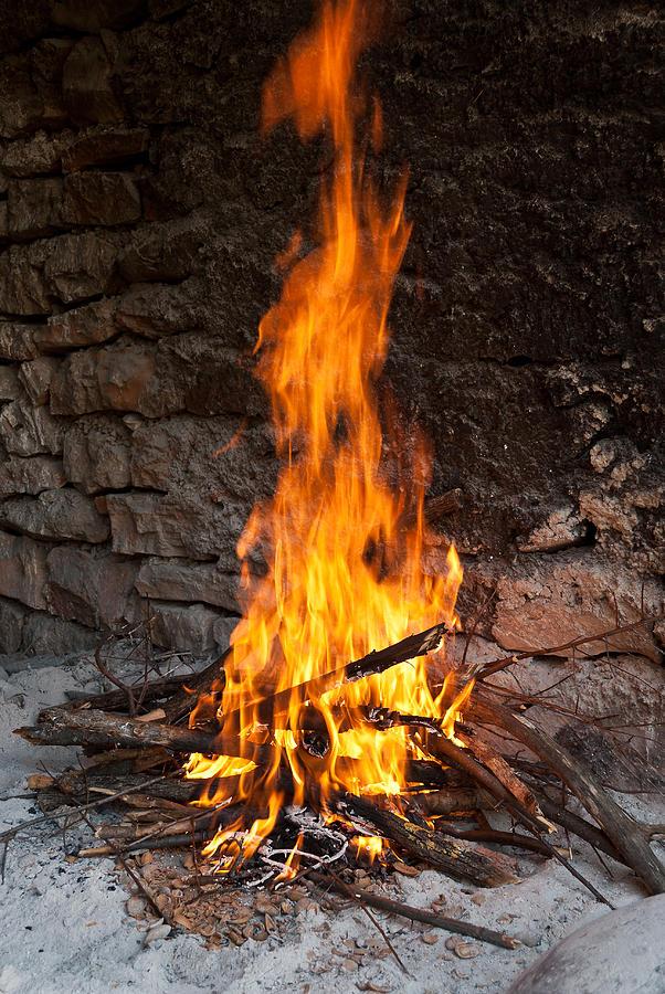Fire Photograph - Burning Fireplace by Milica Ljevaja Stojanovic