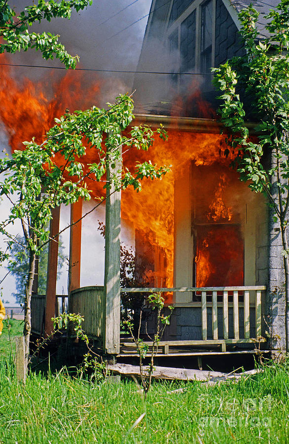 Fire Photograph - Burning House by Randy Harris