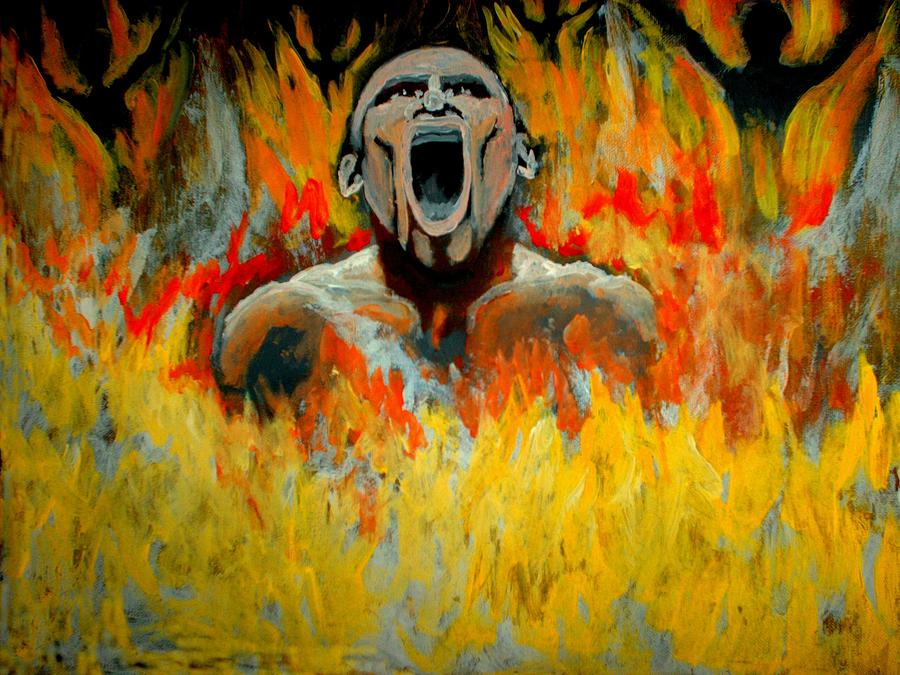 Hell Painting - Burning In Hell by Anthony Renardo Flake