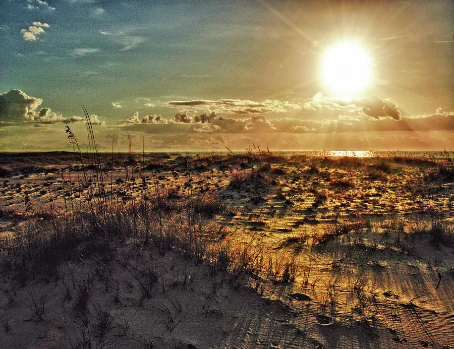 Pelican Digital Art - Burnt Orange Sunrise by Michael Thomas
