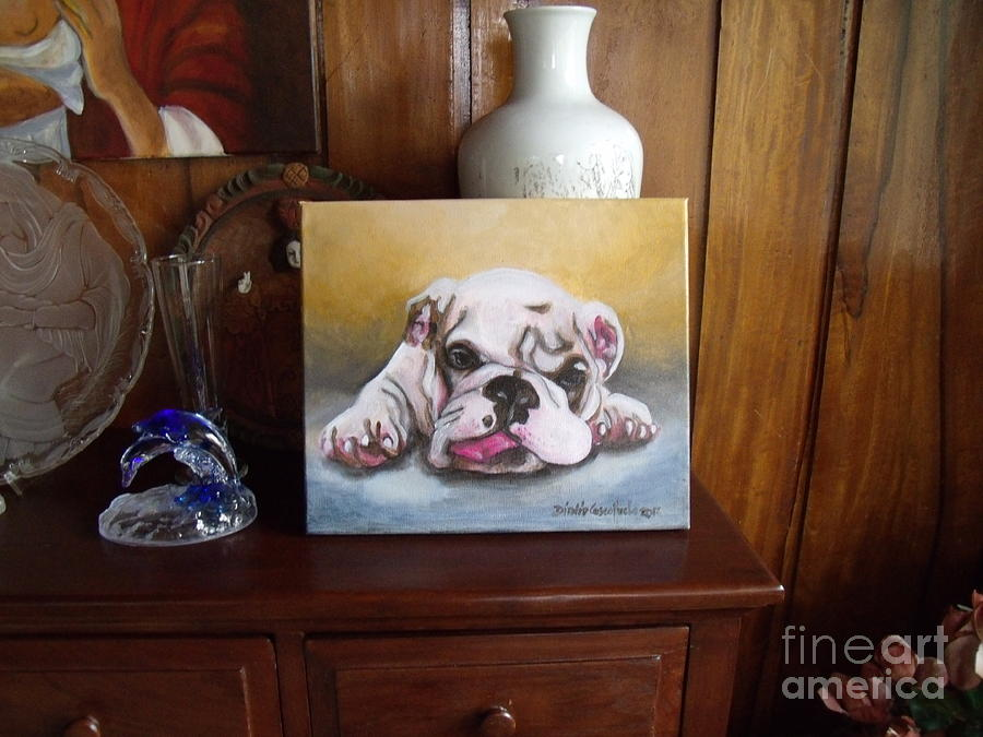 Bulldog Photograph - Burp On Top Of Cabinet by Dindin Coscolluela