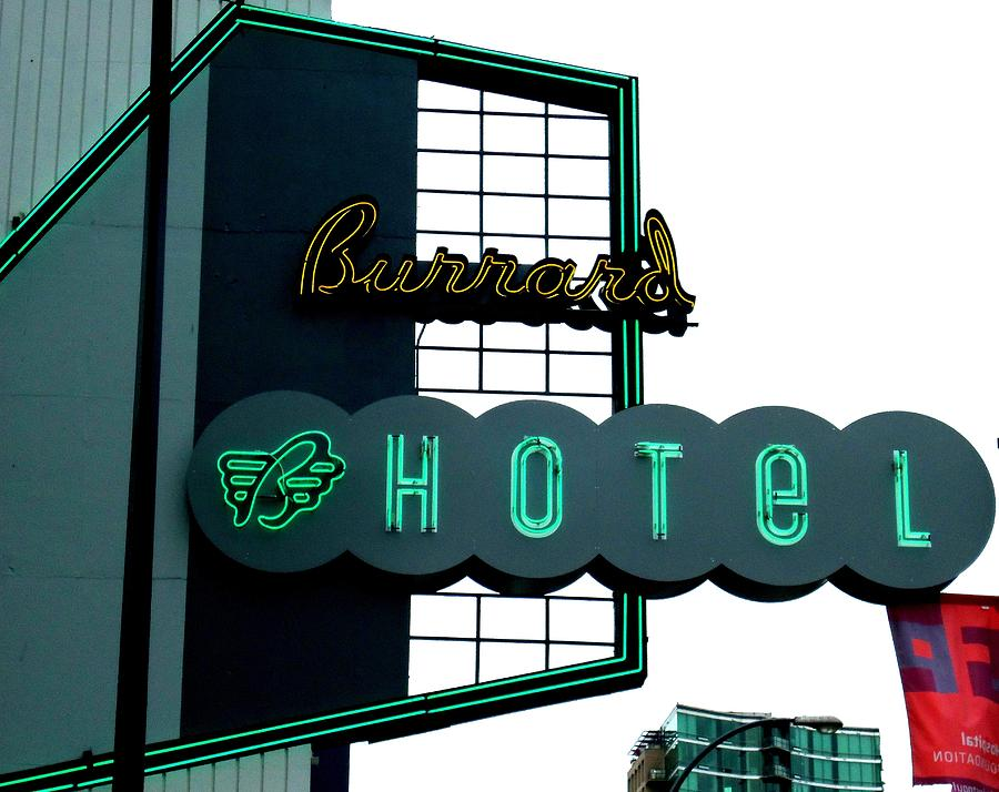 Neon Photograph - Burrard Hotel 2 by Randall Weidner