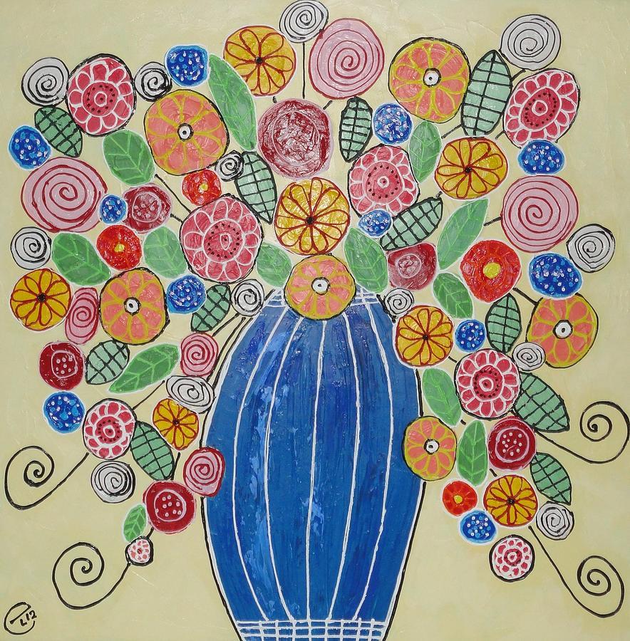 Flowers Painting - Burst Of Flowers by Elizabeth Langreiter
