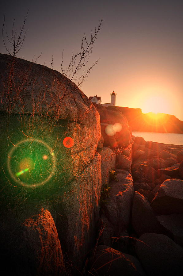 Nubble Lighthouse Photograph - Burst Of Nubble by Emily Stauring