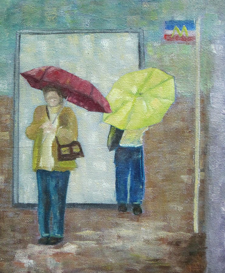 Impressionist Painting - Bus Stop by Patricia Cleasby