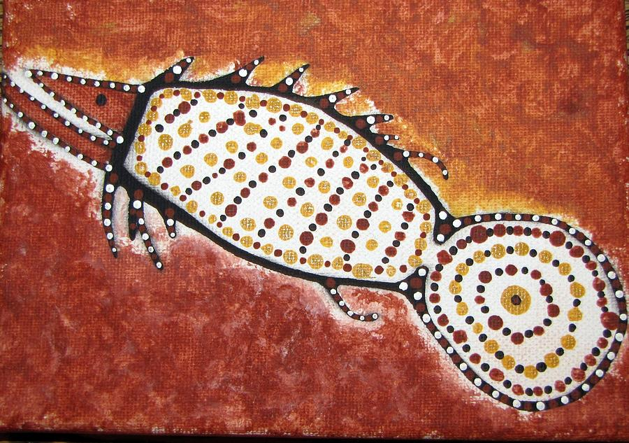Aboriginal Painting - Bush Barramundi by Courtney Adams