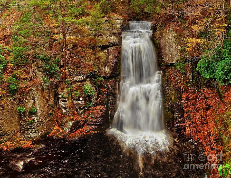Autumn Photograph - Bushkill Main Falls by Nick Zelinsky