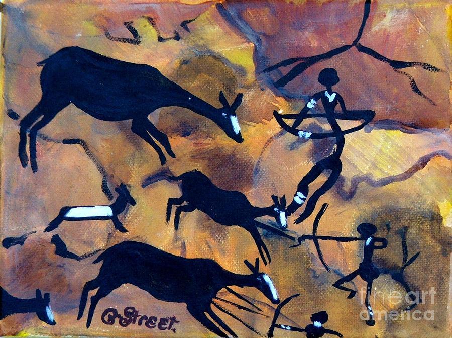 Bushmen Rock Art No 1 The Hunt Painting By Caroline Street