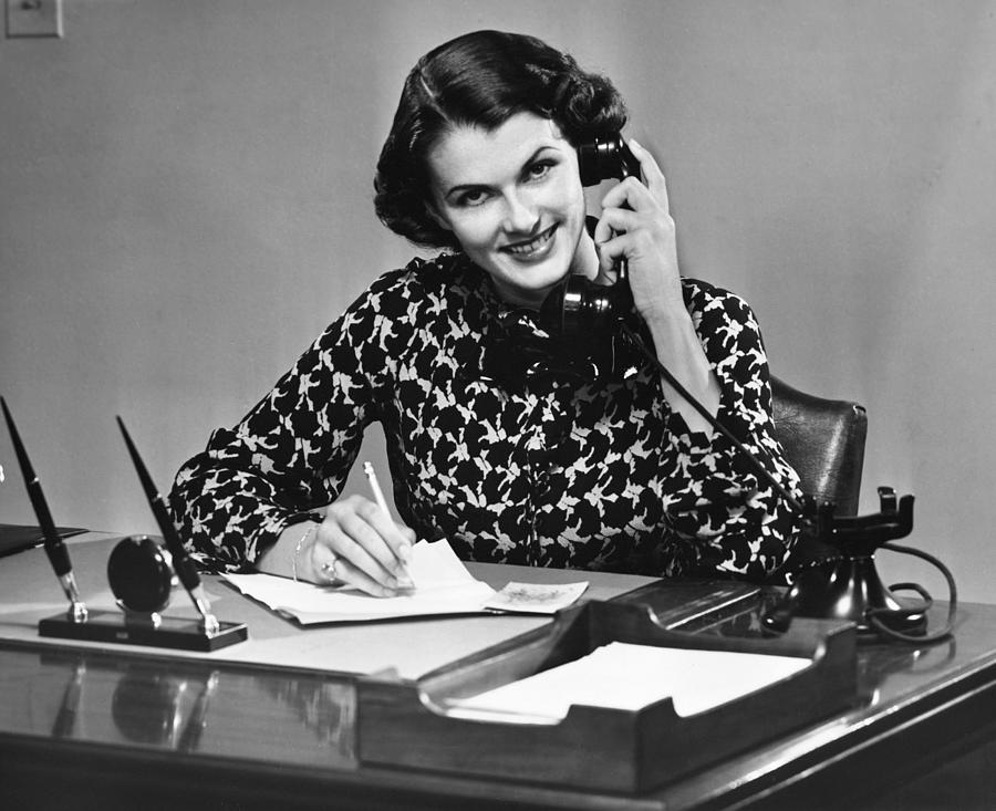 Adult Photograph - Businesswoman On Telephone by George Marks