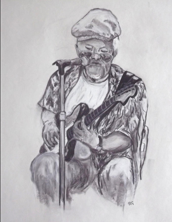 Charcoal Painting - Busking 1 by Peter Edward Green