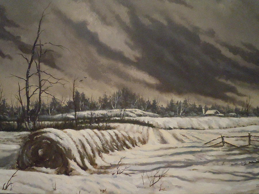 Landscape Painting - Butler Farm In Winter by James Guentner