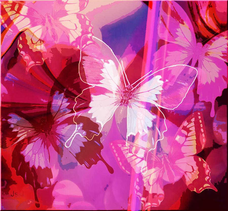 Mixed Media Digital Art - Butterflies En Rouge by Jan Steadman-Jackson