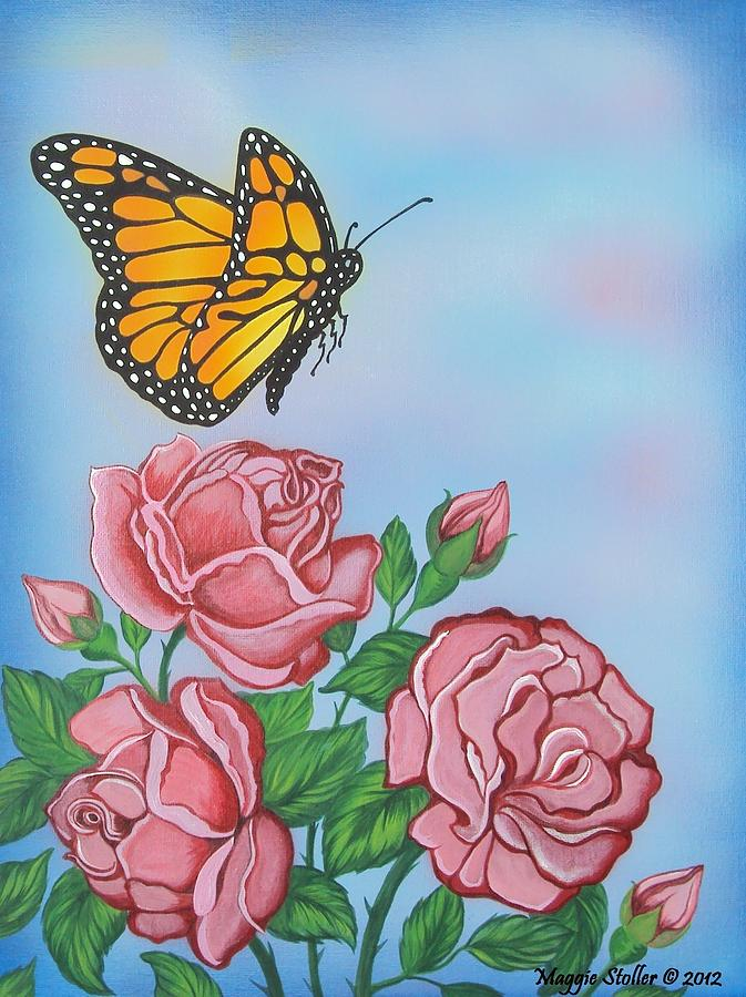 Butterfly Painting - Butterfly And Roses by Margaret Stoller