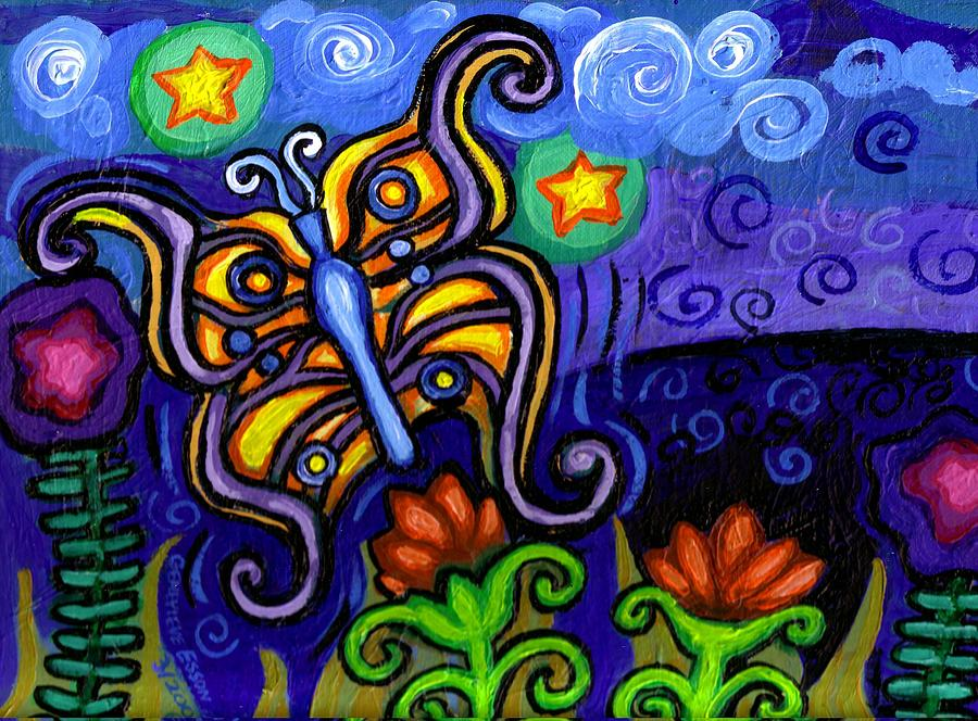Butterfly Painting - Butterfly At Dusk by Genevieve Esson