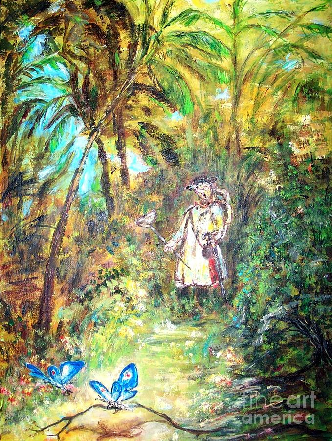 Landscape Painting - Butterfly Catcher  by Mary Sedici