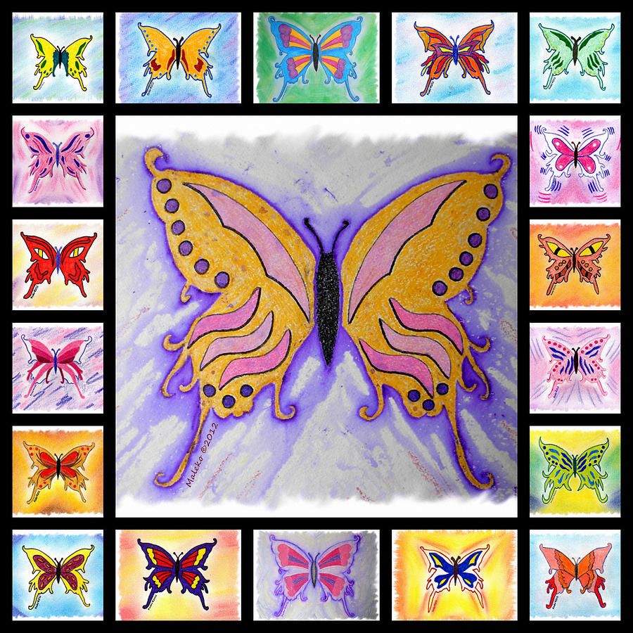 Butterfly Collage Drawing By Mark Schutter
