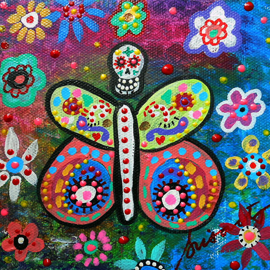 Butterfly Day Of The Dead Painting By Pristine Cartera Turkus