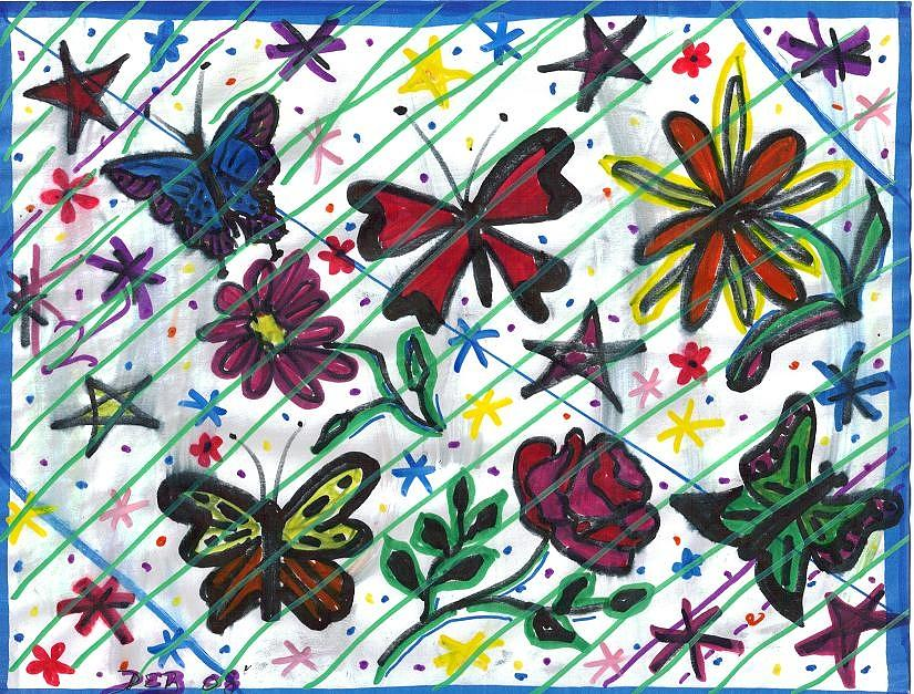 Doodles Painting - Butterfly Doodles by Debbie Wassmann