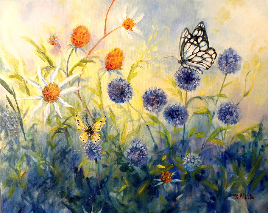 Butterfly Garden Painting By Peggy Wilson