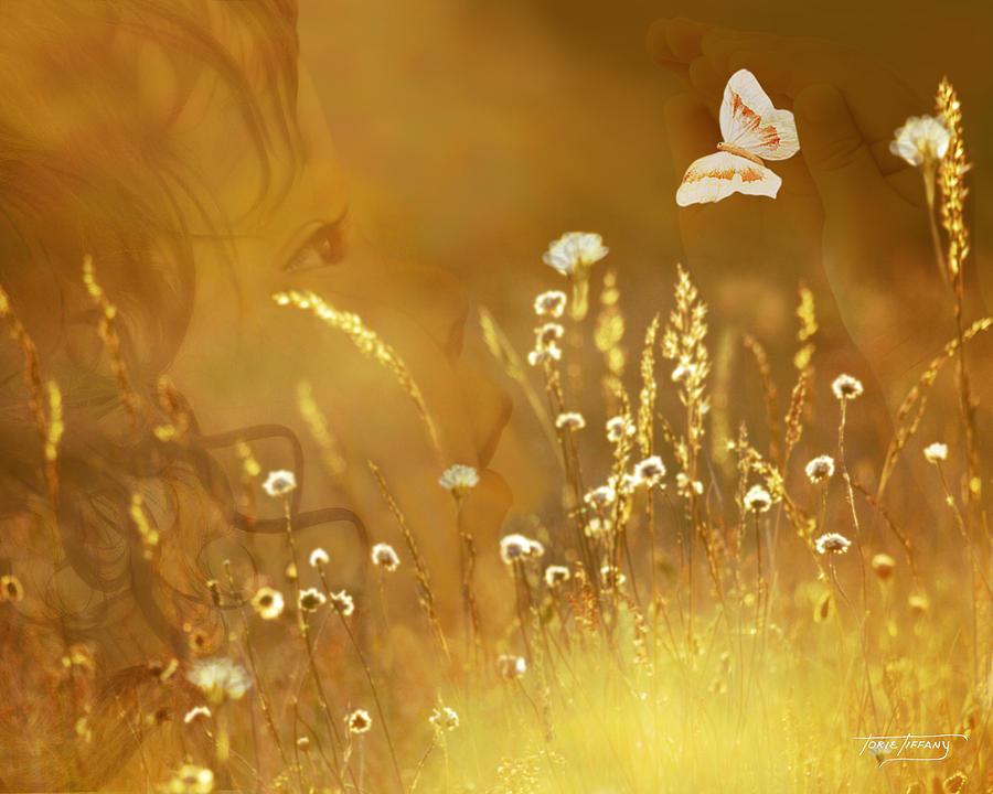 Digital Painting Digital Art - Butterfly Kiss by Torie Tiffany