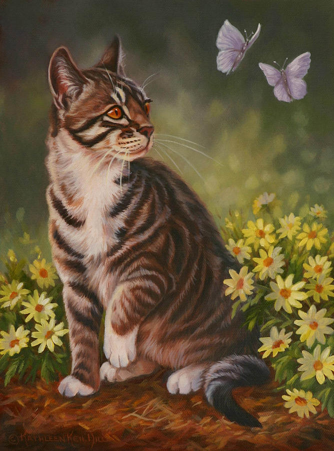 Kittens Painting - Butterfly Kisses by Kathleen  Hill