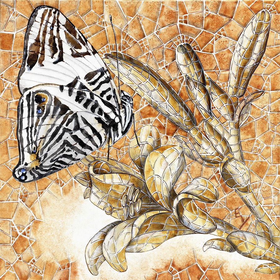 Acrylic Painting - Butterfly Mosaic 02 Elena Yakubovich by Elena Yakubovich