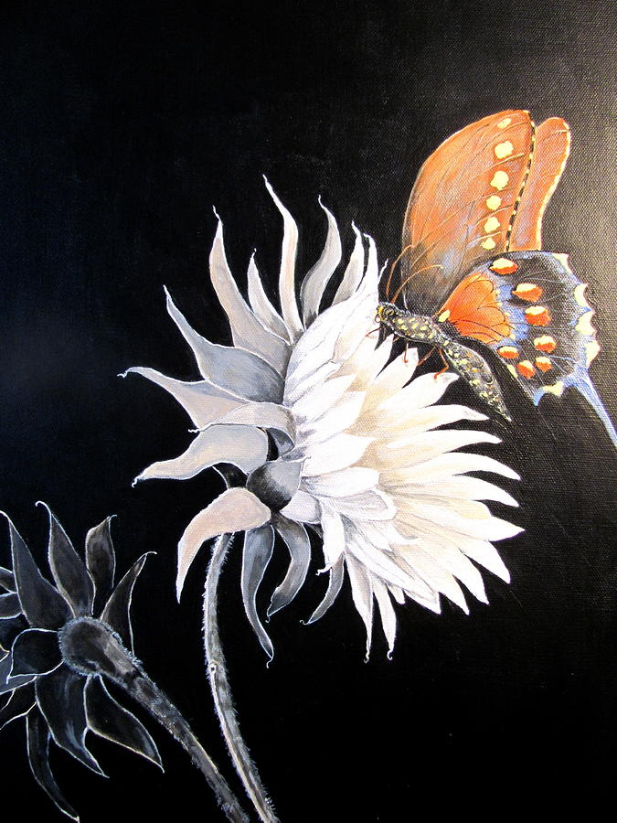butterfly on black white flower painting by sue ervin