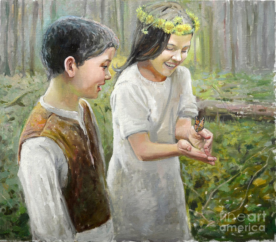Butterfly Painting - Butterfly On Hand by Eugene Maksim