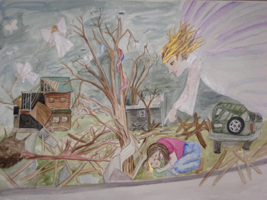 Joplin Tornado Painting - Butterfly People by DJ Bates