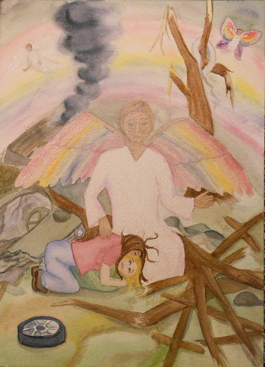 Joplin Tornado Painting - Butterfly People Mother Daughter by DJ Bates