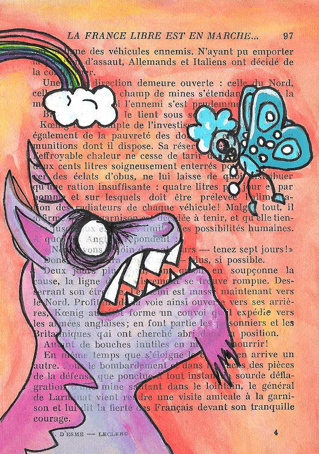 Unicorn Painting - Butterfly Vs Unicorn by Jera Sky