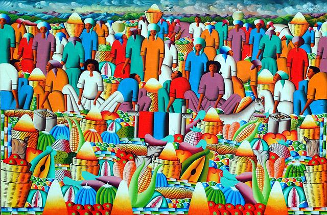 Buzy Market by Frantz  Petion Painting by Frantz Petion