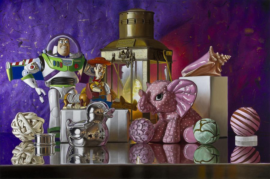 Buzz Lightyear Painting - Buzz With Pink Elephant by Tony Chimento