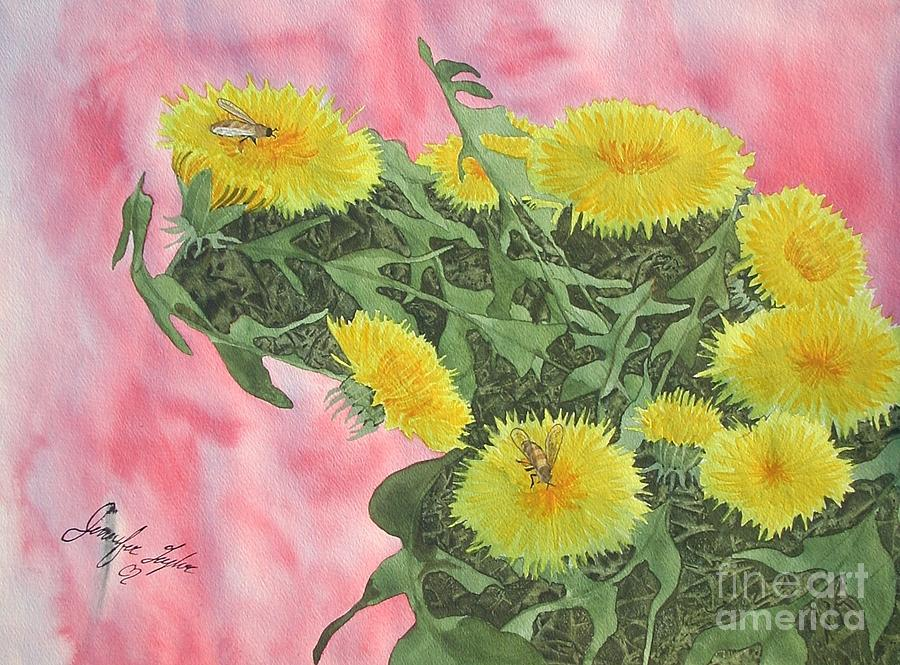 Dandylions Painting - Buzzy Lion by Jennifer Taylor Rogerson