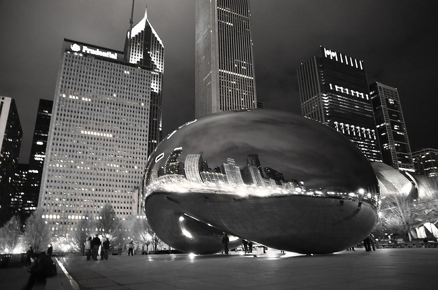 Chicago Photograph - Bw Cloud Gate At Night by Jarvis Chau