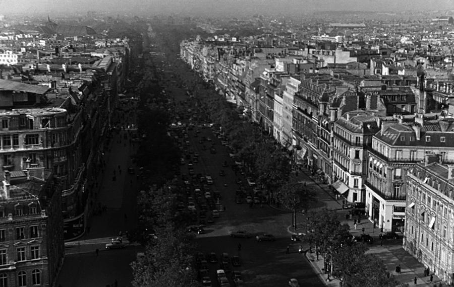 Black Photograph - Bw France Paris Champs Elysees Avenue 1970s by Issame Saidi