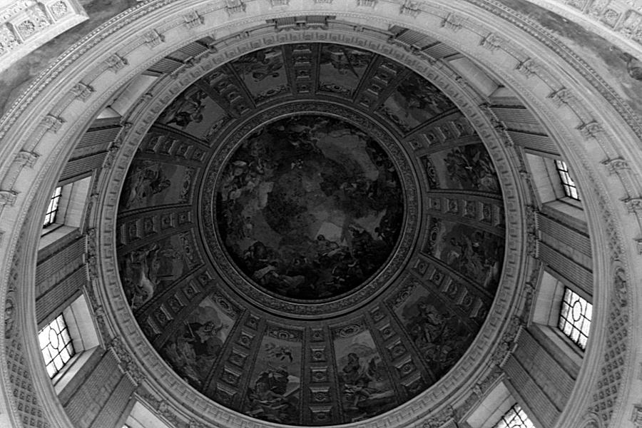 Black Photograph - Bw France Paris Dome Fresco Charles De La Fosse 1970s by Issame Saidi