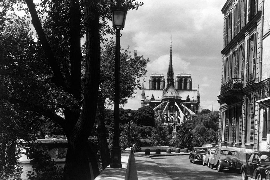 Bw France Paris Notre Dame Saint Louis Island 1970s Photograph by Issame Saidi
