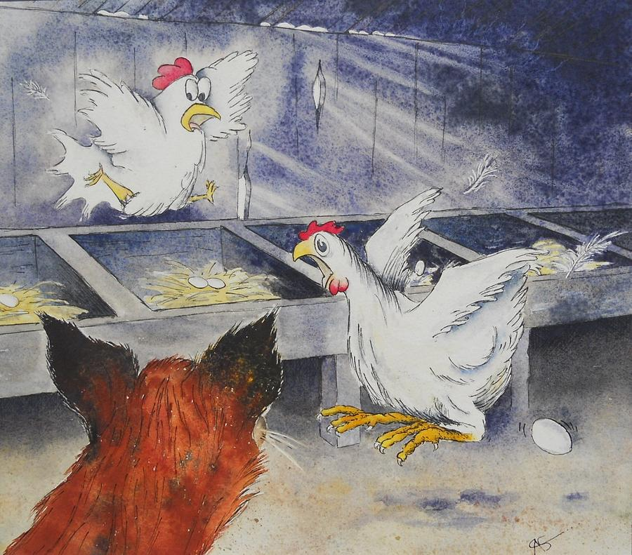 Hens Painting - Bwark Maude Bwark by Carol McLagan