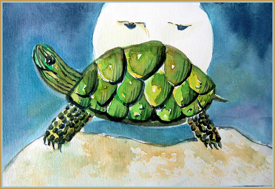 Turtle Painting - By The Light Of The Silvery Moon by Mindy Newman