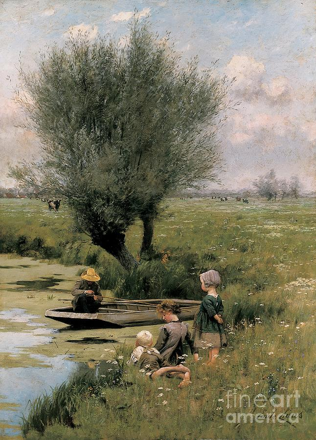 By The Riverside (oil On Canvas)riverside; Riverbank; River; Summer; Summertime; Seasons; C19th; C20th; Male; Female; Child; Children; Boy; Girl; Gils; Standing; Seated; Innocence; Childhood; Idle; Lying Down; Grass; Field; Idyll; Idyllic; Rural; Landscape; Countryside; Boat; Fisherman; Male; Fishing; Rod; Punt; Boat; Cows; Cattle; Livestock; Leisure; Angler Painting - By The Riverside by Emile Claus