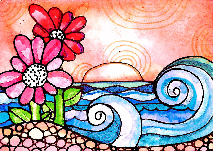 Flowers Painting - By The Shore by Robin Mead