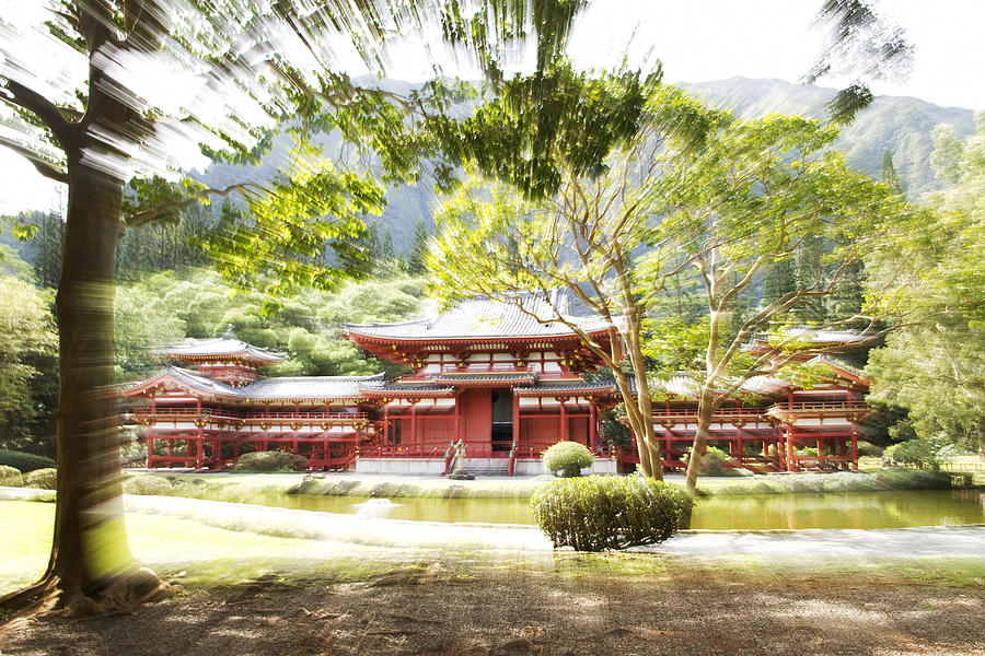 Motion Photograph - Byodo-in Temple II by Ashlee Meyer