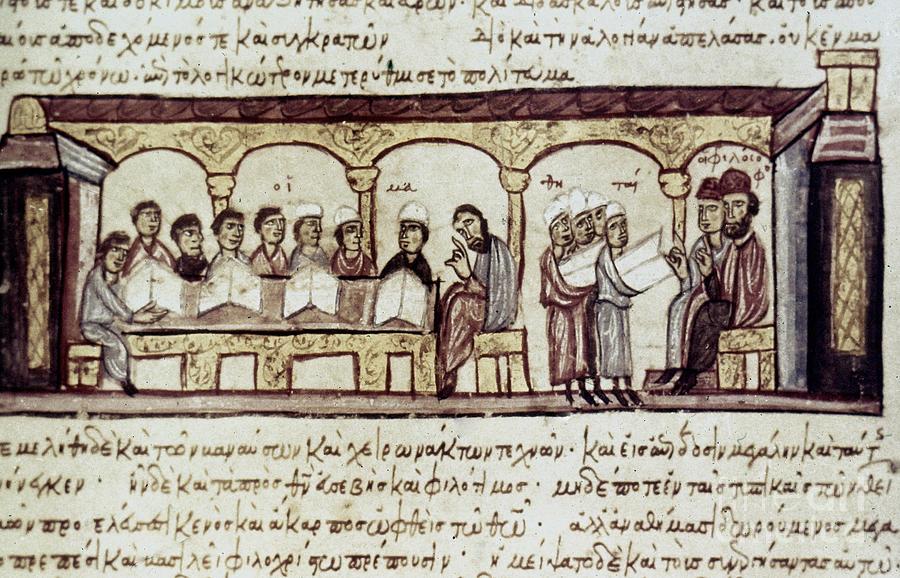 13th Century Photograph - Byzantine Philosophy School by Granger