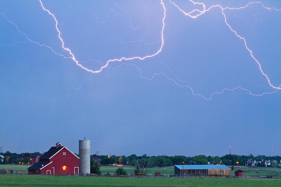 Barns Photograph - C2c Red Barn Lightning Rodeo  by James BO Insogna