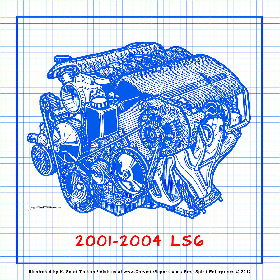 C5 2001 2004 ls6 z06 corvette engine blueprint drawing by k scott c5 corvette drawing c5 2001 2004 ls6 z06 corvette engine blueprint by k scott malvernweather Images