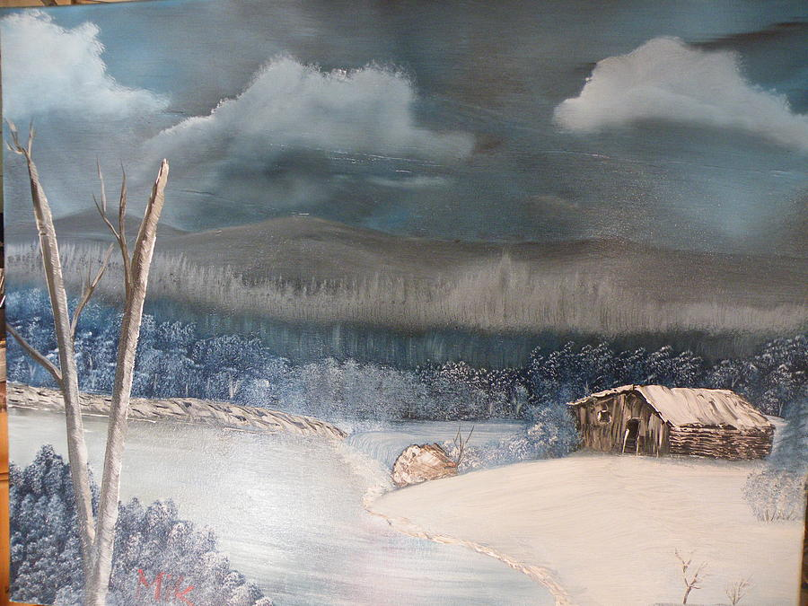 Snow Scene Painting - Cabin By The Lake by Mik Parker